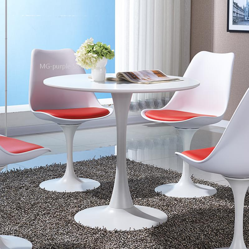 New Modern minimalist dining table small round table sales ...